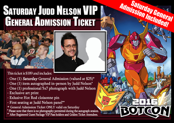 Botcon 2016 General Admission Attendee Tickets Now With Judd Nelson Vip Option/28804