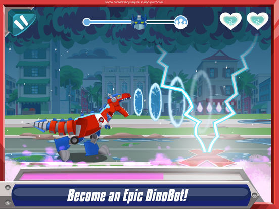 epic dinobots in disaster dash hero run rescue bots game from budge studios/31370